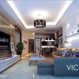 二居室家装大理石电视背景墙图片设计