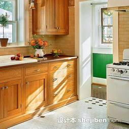 美式厨房六边形地板砖效果图