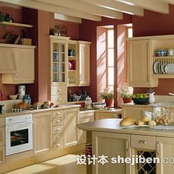 美式厨房实木家具效果图