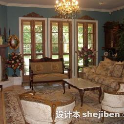 美式客厅实木家具图