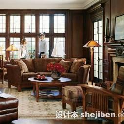 美式客厅实木家具图片