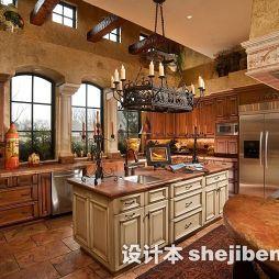 美式厨房实木家具图