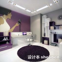书房紫色地毯图片