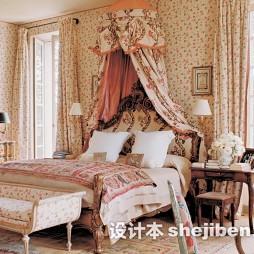 田园风卧室印花地毯图片