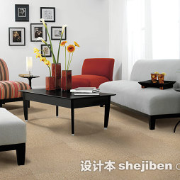 客厅卡其色大地毯图片