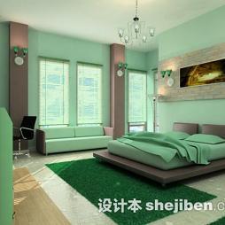 卧室绿色地毯图片