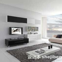 现代客厅灰色茶几地毯装修效果图