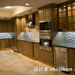 美式厨房实木家具效果图片