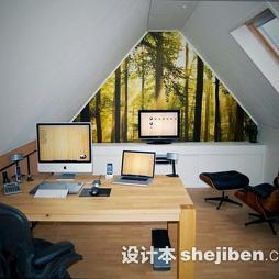 阁楼书房实木家具效果图片