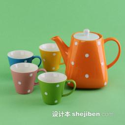 创意彩色茶具装修效果图