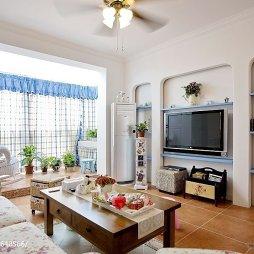 浪漫地中海风格客厅电视背景墙效果图