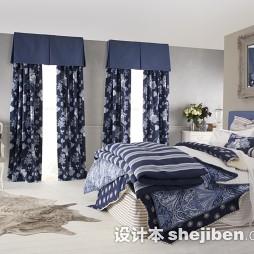 小户型卧室碎花窗帘效果图