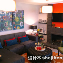 橙色客厅地毯图片