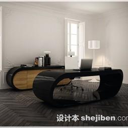 书房黑色条形木地板装修效果图