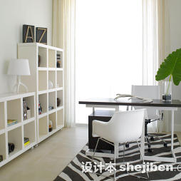 书房黑白图案地毯图片