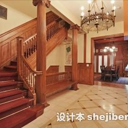 美式风格房屋装修样板间楼梯装修效果图