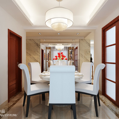 中式风格白色餐桌效果图