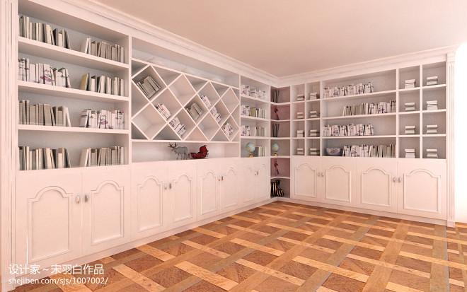 欧式拐角书柜装修效果图