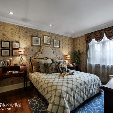 美式风格卧室背景墙壁纸装修效果图