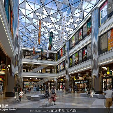 现代大型商场吊旗装修效果图