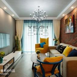 混搭客厅文化砖背景墙装修效果图