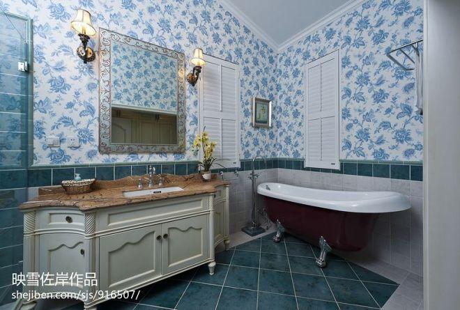 地中海卫浴背景墙装修效果图