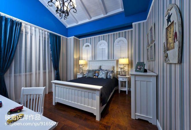 地中海家装卧室背景墙装修效果图