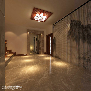 中式风格地下室效果图