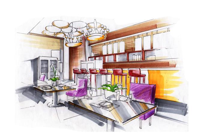 主题咖啡厅彩绘图