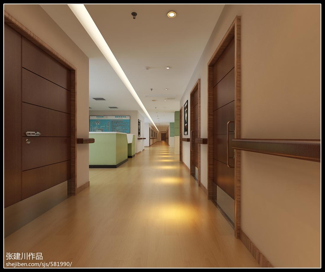 养老院室内装修设计_养老院简约过道设计效果图 – 设计本装修效果图