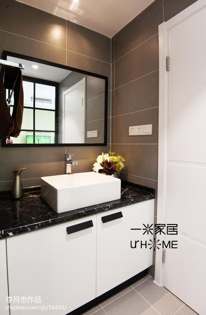 洗脸台_混搭三室两厅卫浴黑白洗脸盆图片 – 设计本装修效果图