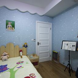 现代家装儿童房蓝色壁纸效果图