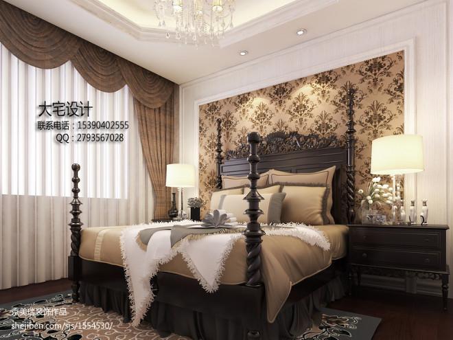 豪宅咖啡色欧式窗帘装修效果图