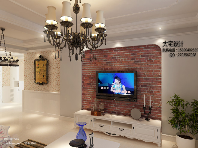 田园小户型电视墙装修效果图