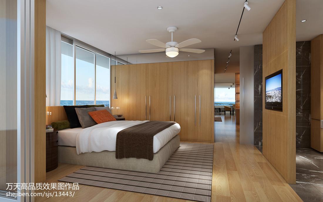 原木家具卧室_现代卧室原木色家具装修效果图 – 设计本装修效果图