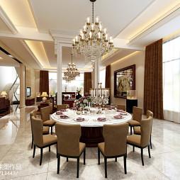 中式餐厅窗帘装修图