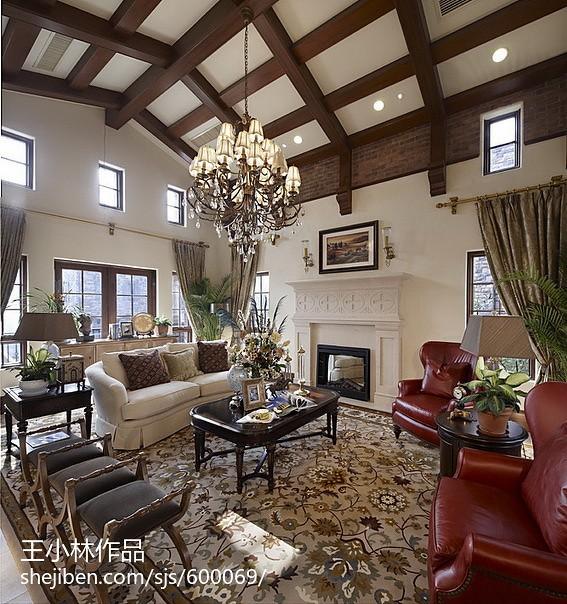 美式别墅客厅艺术灯装修效果图