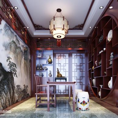 中式书房家具效果图库