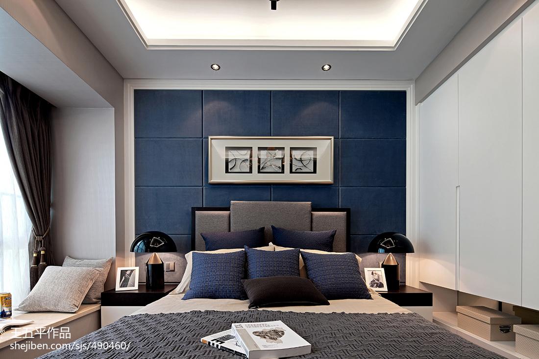 现代风格样板房深蓝色房间卧室装修图片