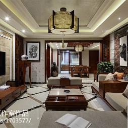 中式家装客厅背景墙装修图片