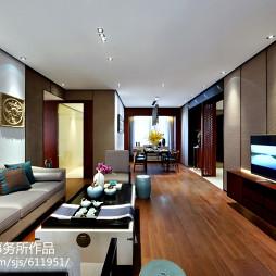 中式新古典样板房客厅吊顶设计