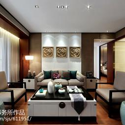 中式新古典样板房客厅吊顶装修效果图大全2017图片