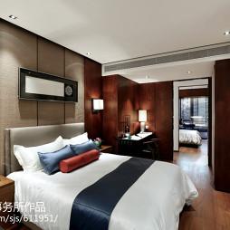 中式新古典样板房卧室背景墙装修图片
