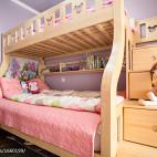 混搭儿童房实木子母床效果图