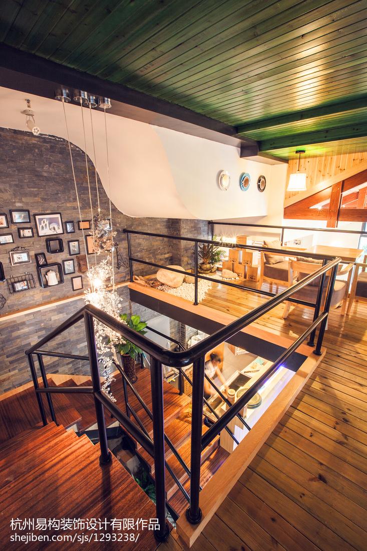 咖啡店装修_混搭咖啡厅楼梯装修图 – 设计本装修效果图