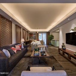 现代中式样板房客厅吊顶装修