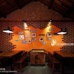 混搭风格烧烤店文化砖背景墙装修效果图