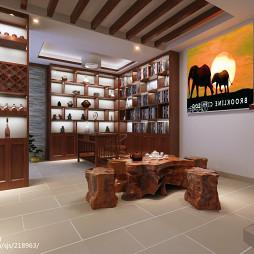 中式休闲区根雕茶台装修图片