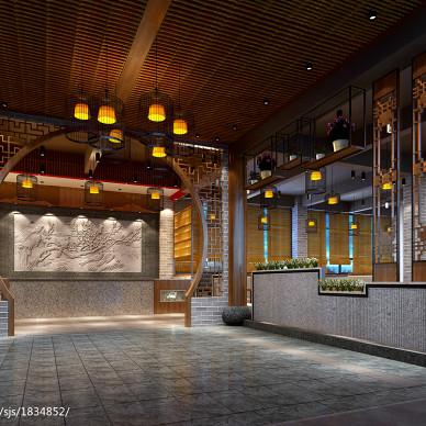 中式怪味餐厅店面大堂装饰图片