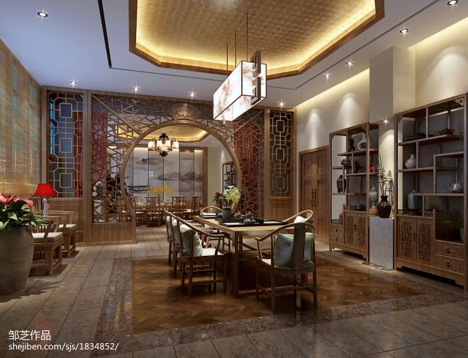 中式餐厅店面接待区装饰图欣赏